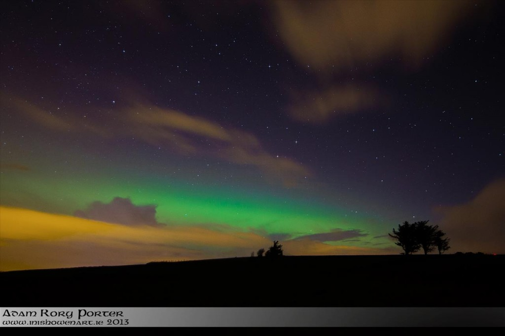 Aurora Borealis (Northern Lights) paint Irish skies green in Inishowen, County Donegal on St Patrick's Night. Image Adam Rory Porter